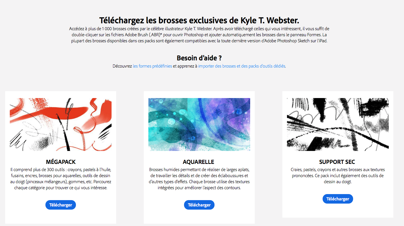 Les brosses de Webster pour Adobe Photoshop CC