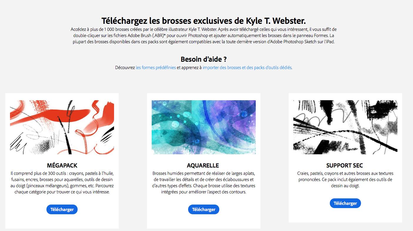 Les brosses de Webster pour Adobe Photoshop CC