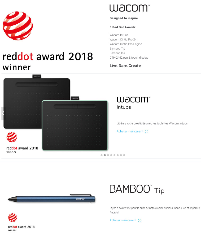 Du Red Dot Design Award pour Wacom