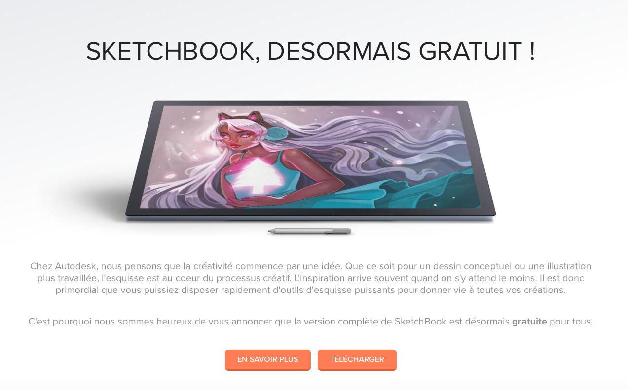 SketchBook, c'est gratuit