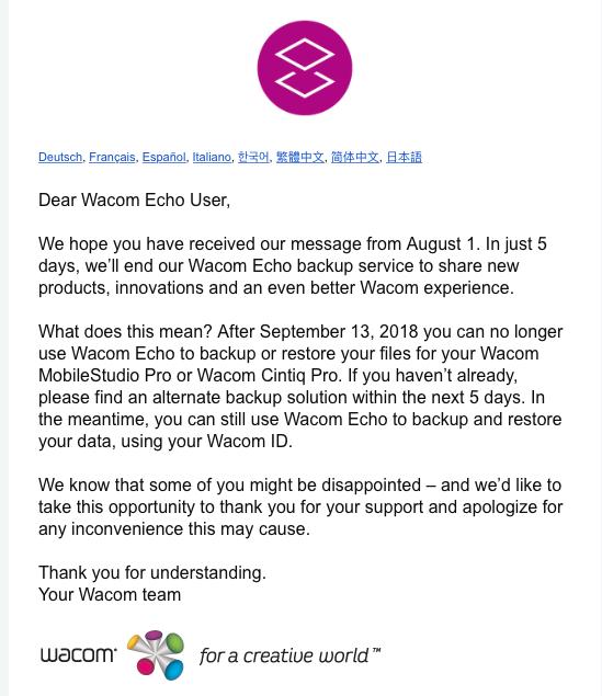 Fin de Wacom Echo