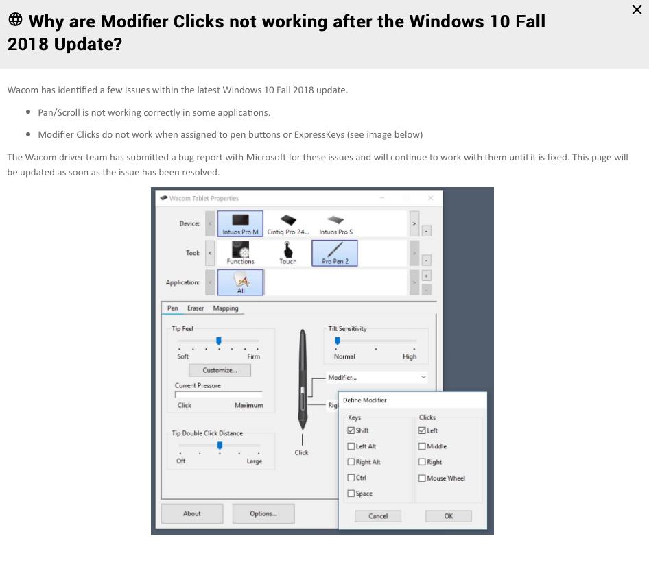 Problemes Wacom et nouvelle maj Windows 10