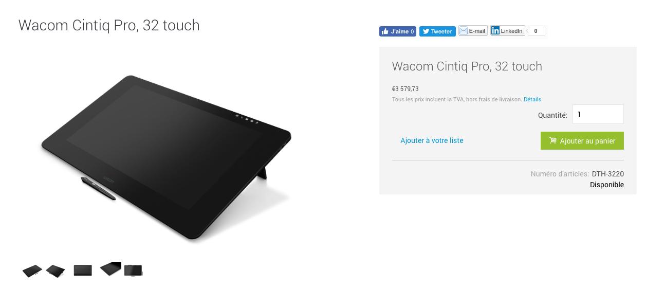 Wacom Cintiq Pro 32 sur le Wacom eStore